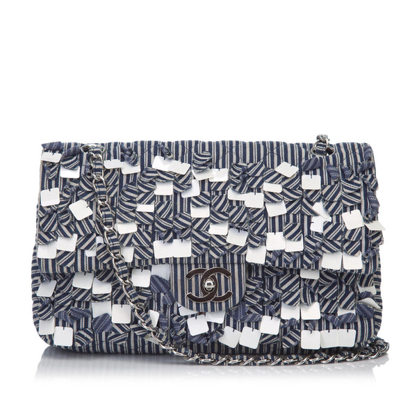 Blue Chanel Fringe Cotton Flap Shoulder Bag