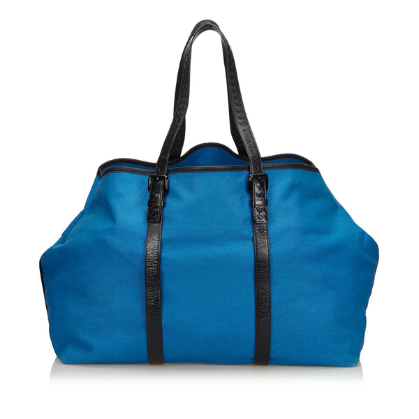 Blue Bottega Veneta Canvas Weekender