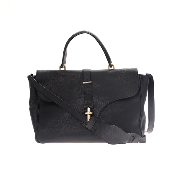 Black Balenciaga Leather Tube Satchel Bag