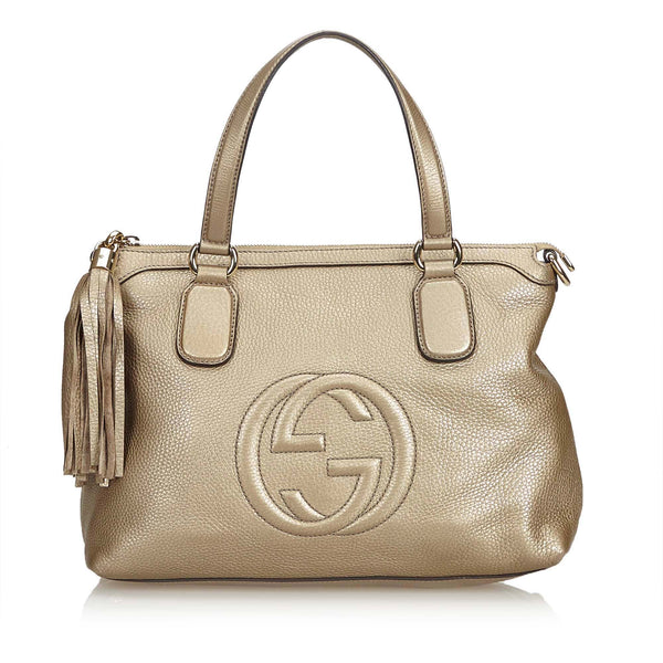 Metallic Gold Gucci Leather Soho Tote Bag