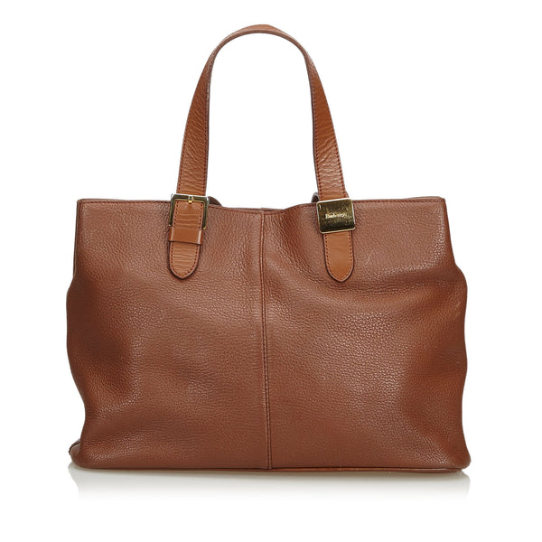 Light Brown Burberrys Leather Tote Bag