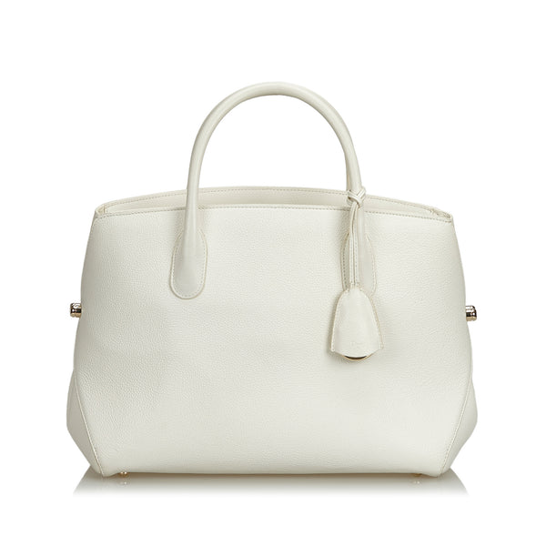 White Dior Leather Open Bar Handbag Bag