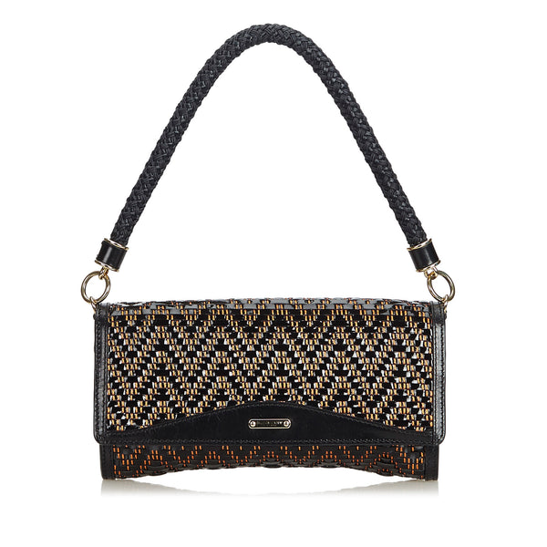 Black Burberry Woven Leather Shoulder Bag