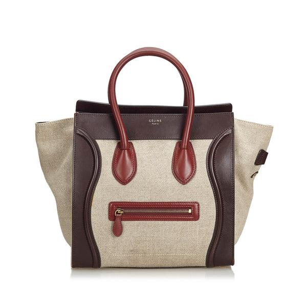 Beige Celine Canvas Phantom Tote Bag