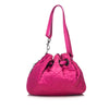 Pink Christian Dior Nylon Cannage Bucket Bag