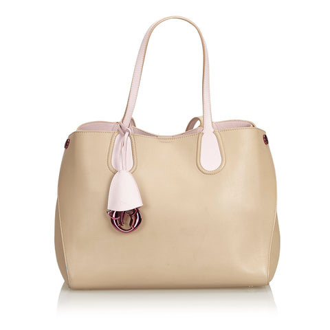 Beige Dior Leather Addict Tote Bag