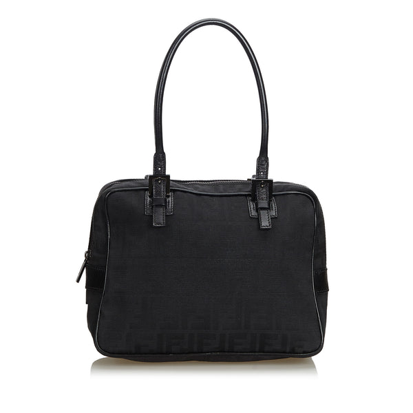Black Fendi Zucchino Canvas Handbag Bag