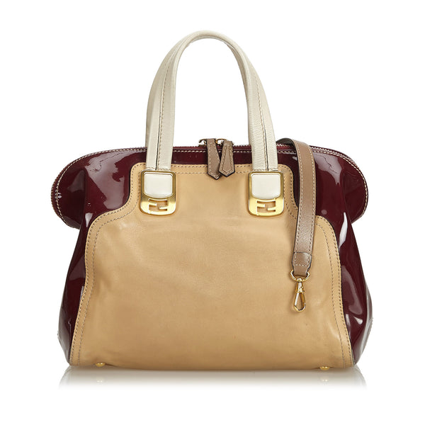Brown Fendi Leather Chameleon Satchel Bag