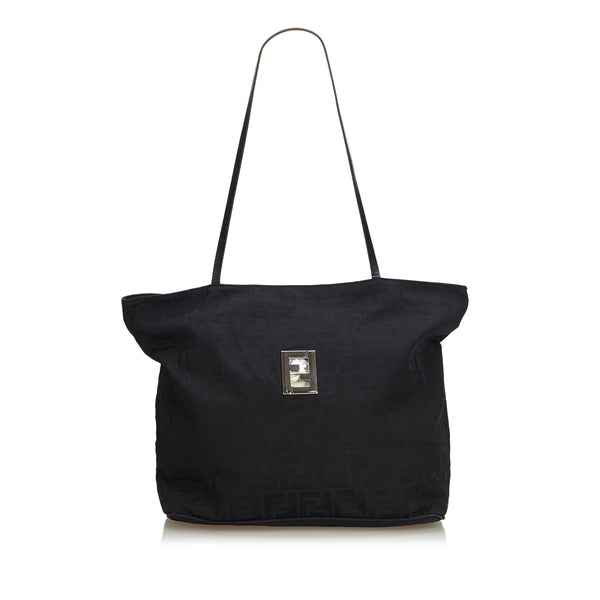 Black Fendi Zucca Canvas Tote Bag