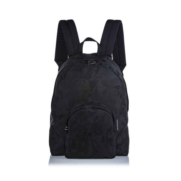 Black Alexander McQueen Printed Jacquard Backpack Bag