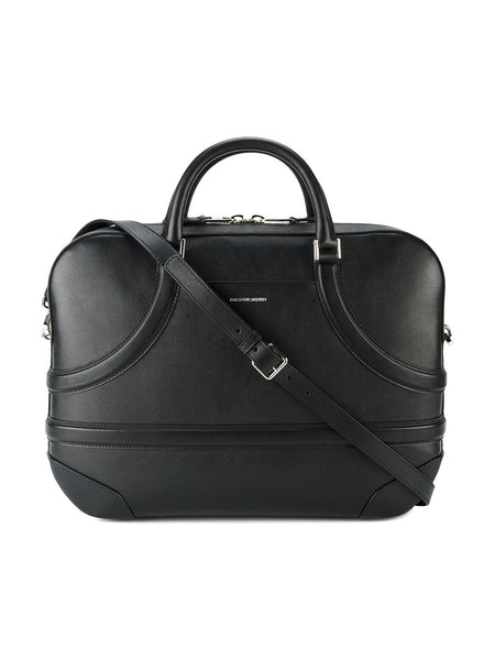 Black Alexander McQueen Leather Harness Briefcase Bag