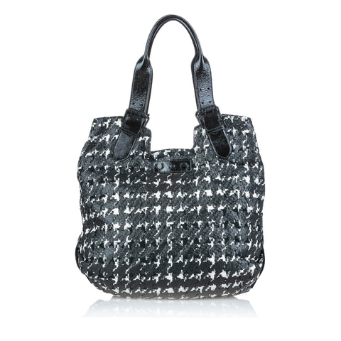 Black Alexander McQueen Houndstooth Leather Tote Bag