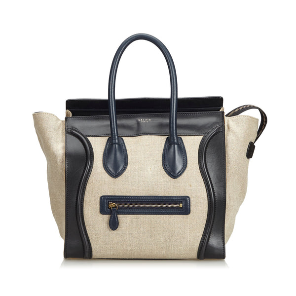 Brown Celine Leather Luggage Tote Bag