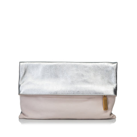 Pink Fendi Bicolor Fold-Over Clutch Bag
