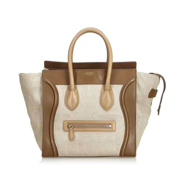 Brown Celine Canvas Luggage Tote Bag