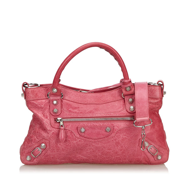 Pink Balenciaga Motocross Leather Giant City Satchel Bag