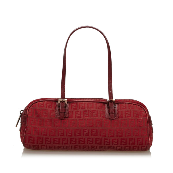 Red Fendi Zucchino Canvas Handbag Bag