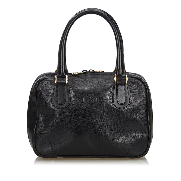 Black Gucci Vintage Leather Handbag Bag