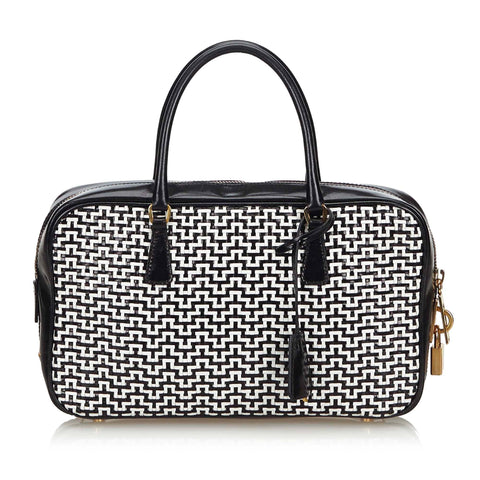 Black And White Prada Woven Leather Tote Bag