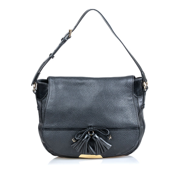 Black Burberry Leather Tassel Shoulder Bag