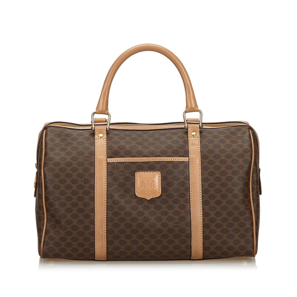 Brown Celine Macadam Boston Bag