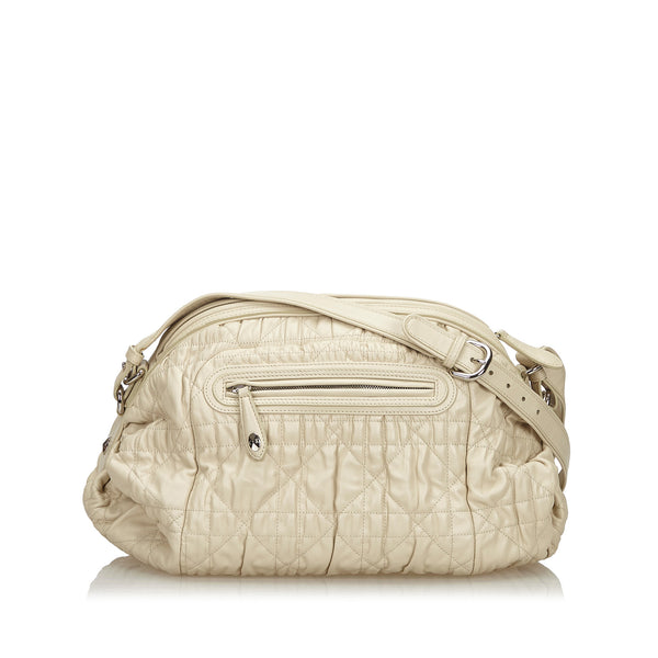 White Christian Dior Cannage Leather Shoulder Bag