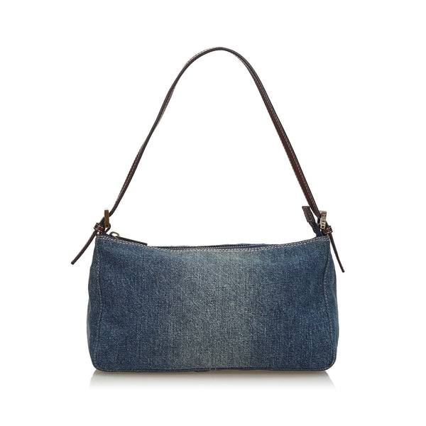 Blue Fendi Denim Baguette