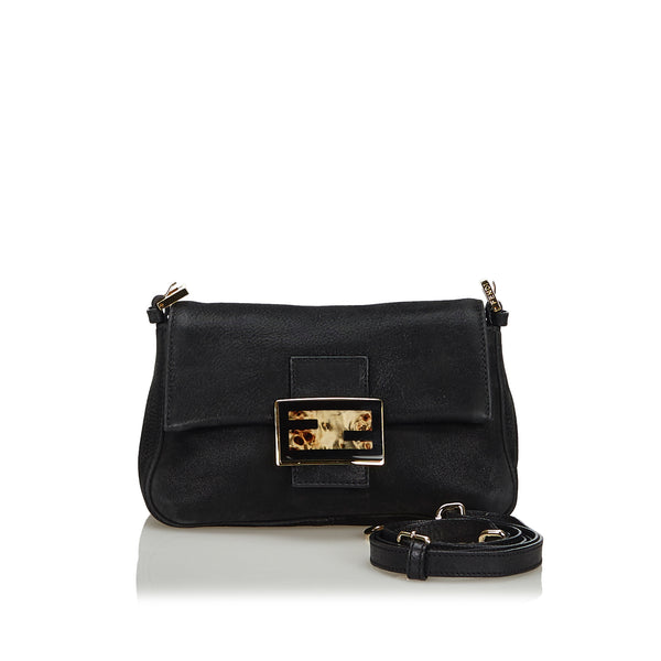 Black Fendi Leather Crossbody Bag