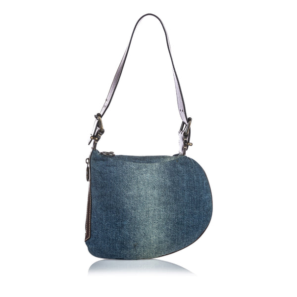 Blue Fendi Oyster Denim Shoulder Bag