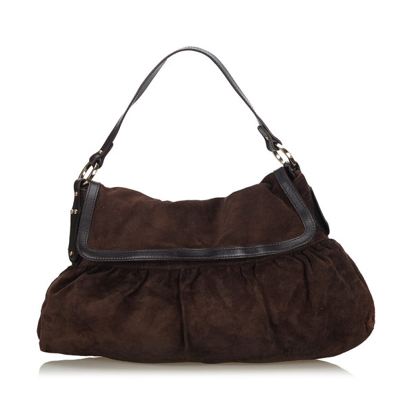 Brown Fendi Suede Chef Shoulder Bag