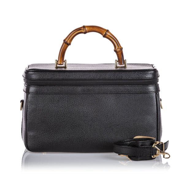 Black Gucci Bamboo Leather Vanity Bag