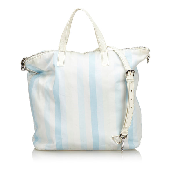 White Prada Printed Cotton Satchel Bag
