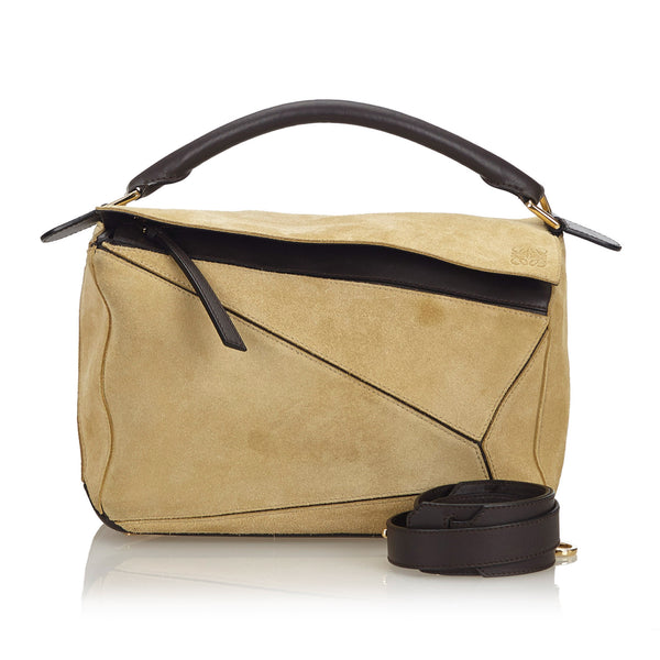 Brown Loewe Suede Medium Puzzle Satchel Bag