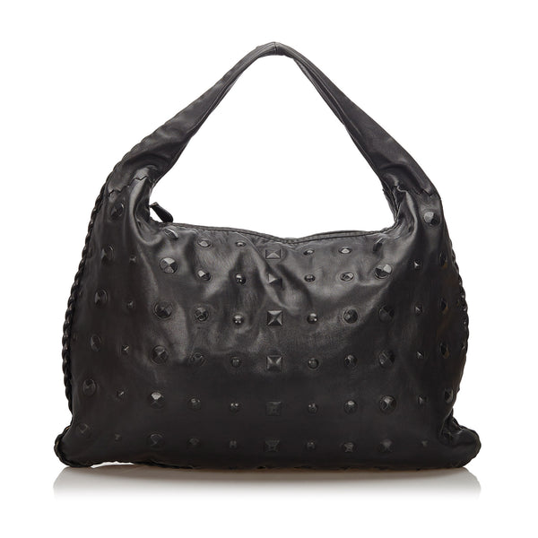 Black Bottega Veneta Studded Leather Hobo Bag