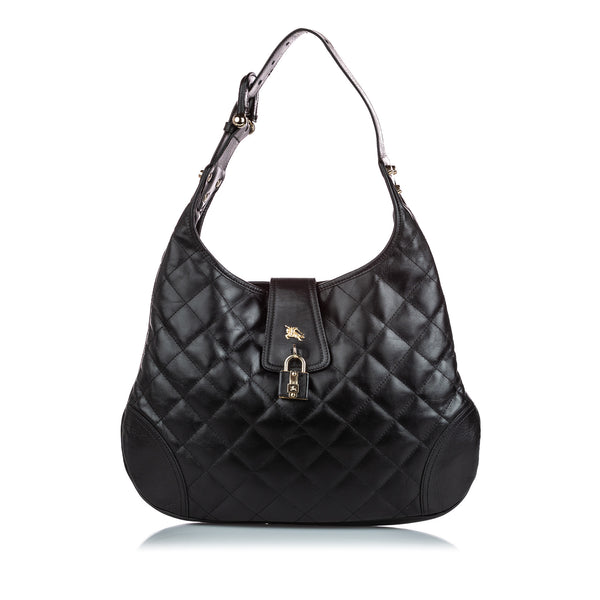 Black Burberry Quilted Leather Brooke Hobo Bag