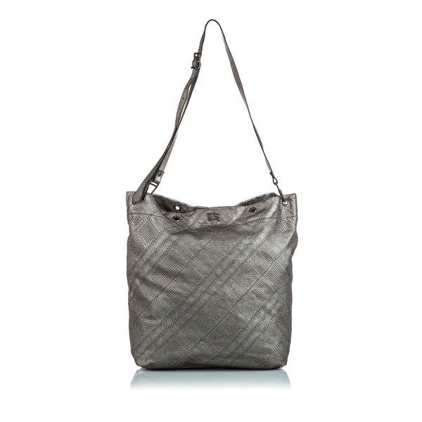 Silver Burberry Perforated Check Leather Shoulder Bag