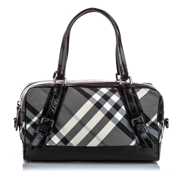 Black Burberry Smoke Check Canvas Satchel
