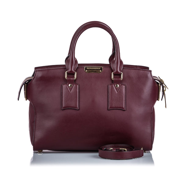 Maroon Burberry Leather Clifton Satchel