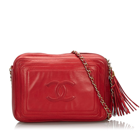 Red Chanel CC Lambskin Leather Camera Bag