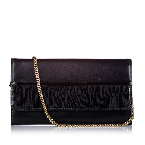 Black Lanvin Embossed Leather Wallet On Chain