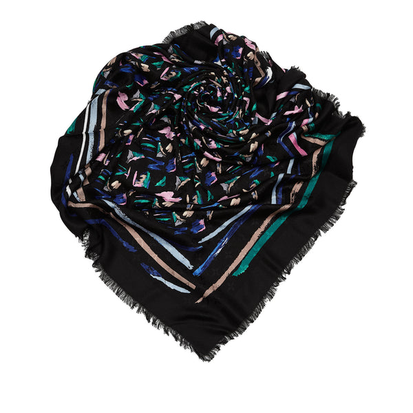 Black Abstract Print Louis Vuitton Splash Scarf