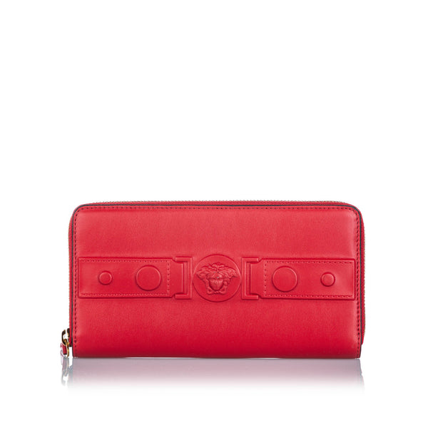 Red Versace Leather Medusa Zip Wallet