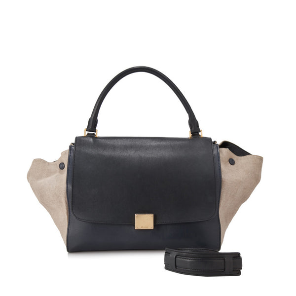 Black Celine Suede Trapeze Satchel Bag
