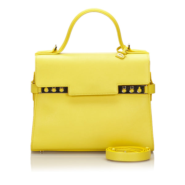 Yellow Delvaux Leather Tempete Medium Satchel Bag