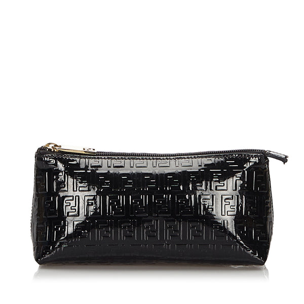 Black Fendi Zucchino Patent Leather Pouch