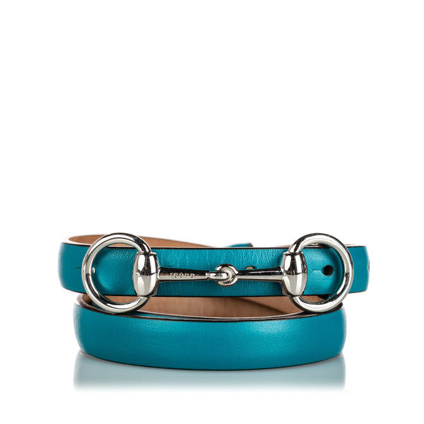 Blue Gucci Horsebit Leather Waist Belt