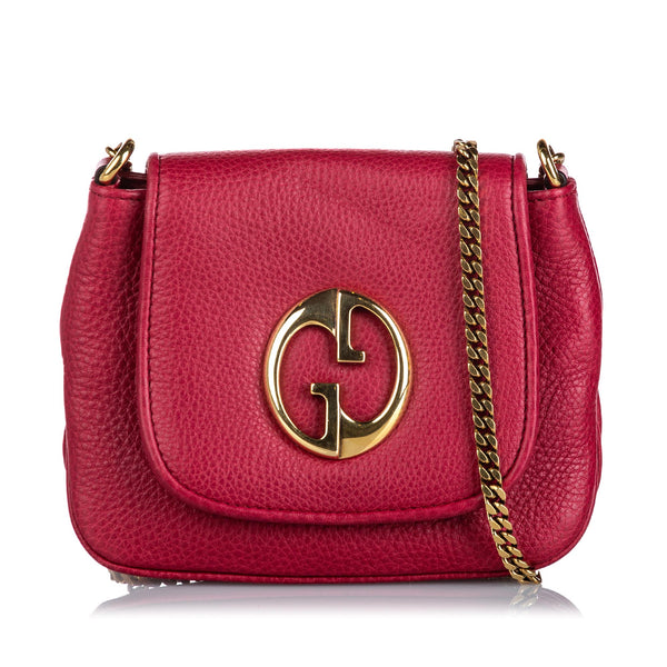 Pink Gucci Leather 1973 Crossbody Bag