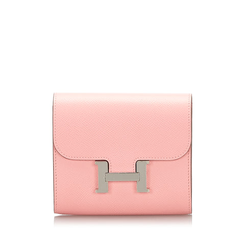 Pink Hermes Epsom Constance Compact Wallet