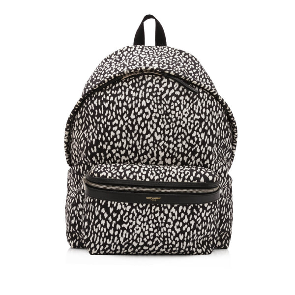 Black and White Nylon Saint Laurent Babycat Print Backpack