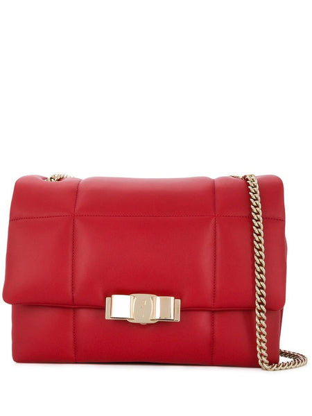 Red Ferragamo Quilted Leather Chain Shoulder Bag
